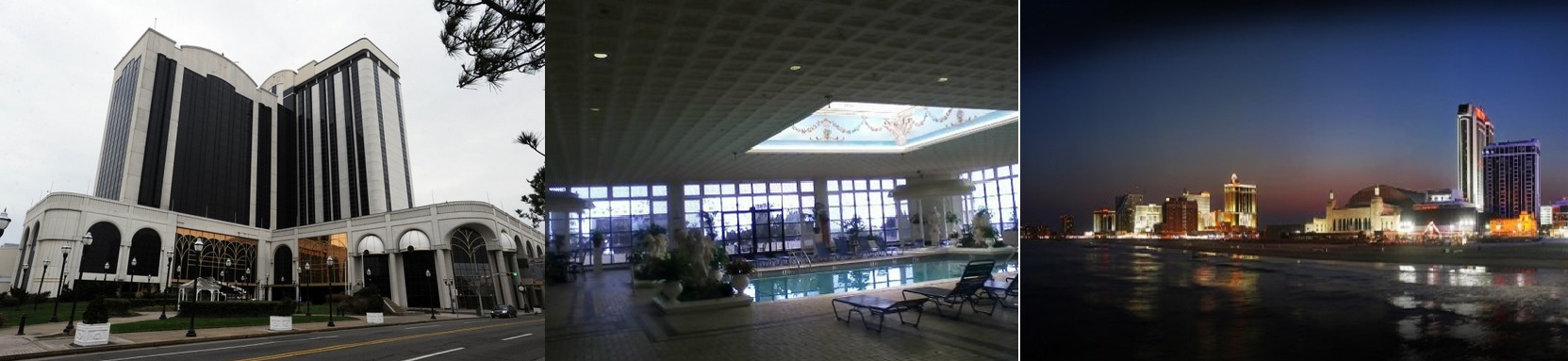 The Atlantic City Casino hotel view, oceanfront view and inside pool