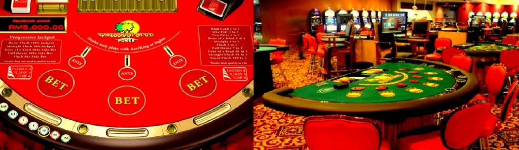 caribbean stud poker layout and table